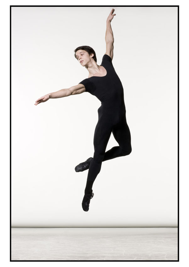 male dancer jumps high