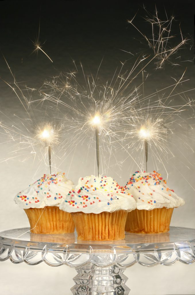 cupcakes with sparklers on top