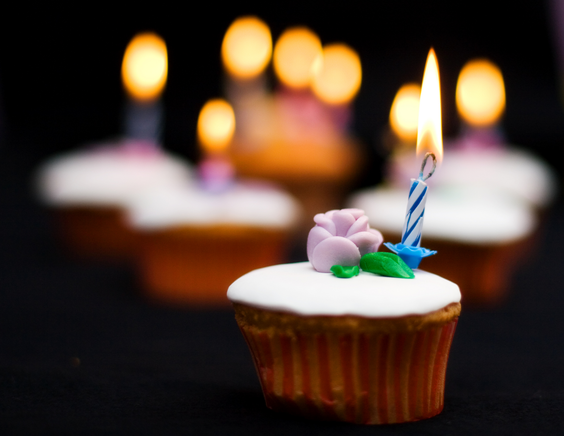 cupcakes with candles on