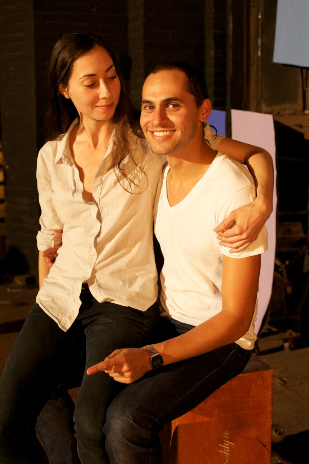 'with my boyfriend, co-director Jody Lee Lipes on the set of our film, NY Export : Opus Jazz', Photograph : Joe Anderson