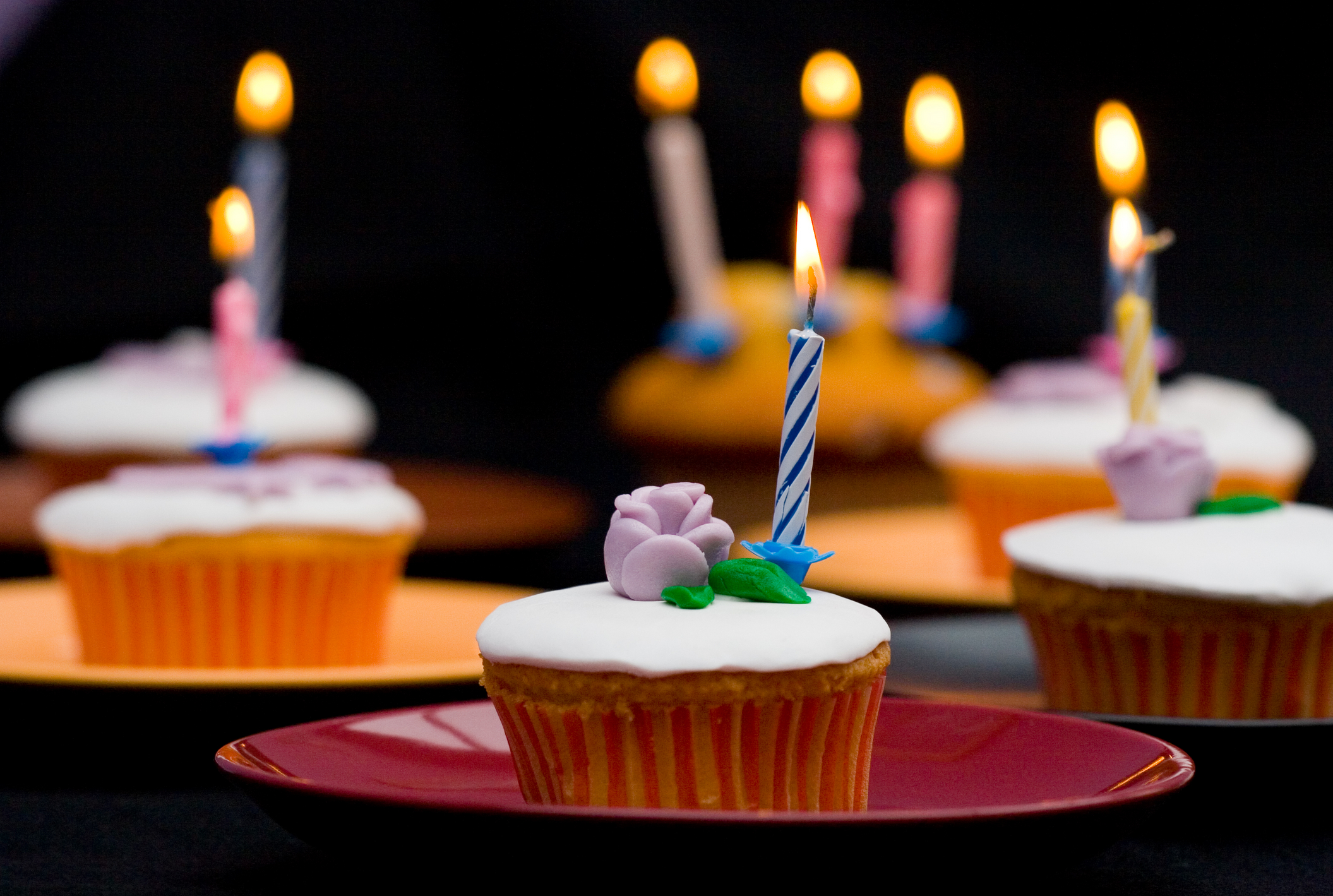 cupcakes with candles in
