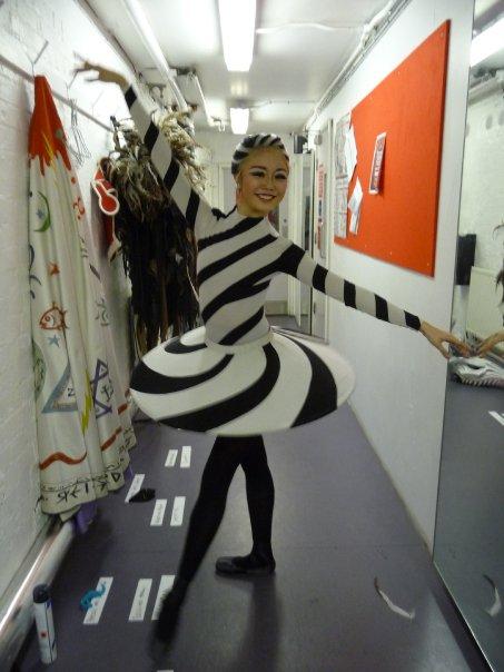 Shiori dressed as a sweet in a black and white tutu
