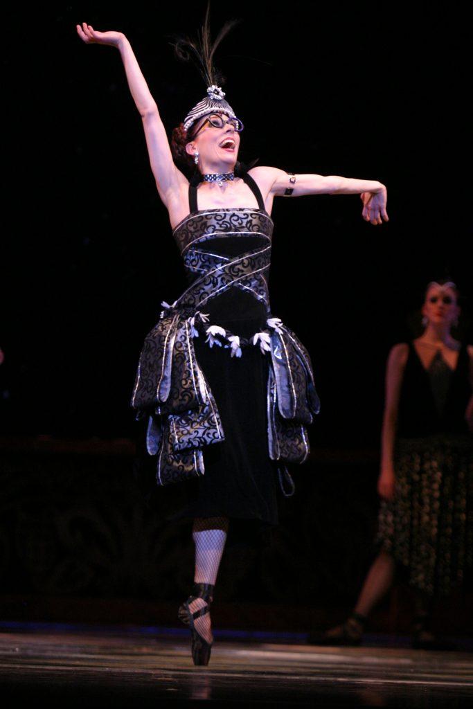 black dress worn by dancer on stage