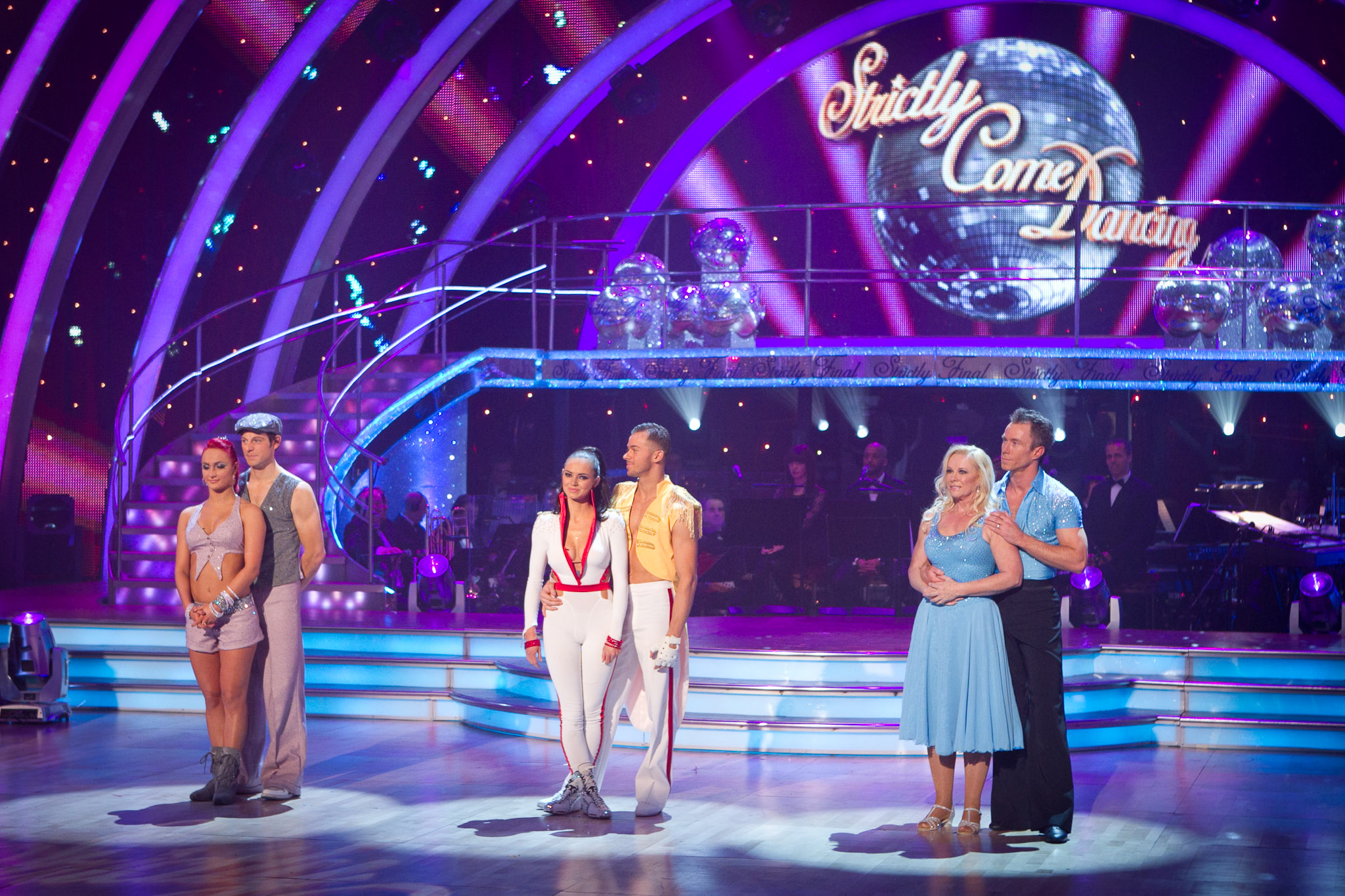 three couples wait for the results of the public vote on Strictly