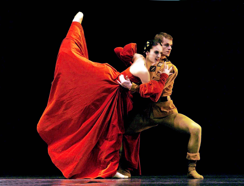 dancer in long red dress