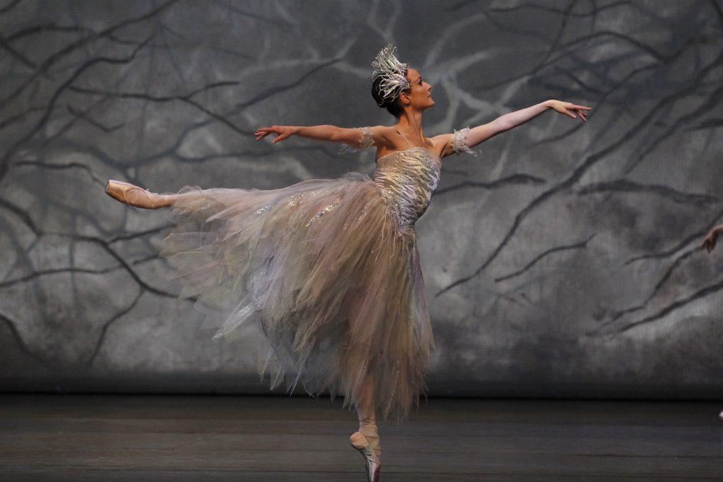 dancer in arabesque wearing silver floating dancewear