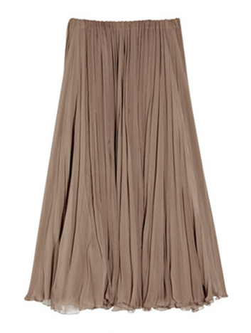 long brown pleated skirt for a ballerina