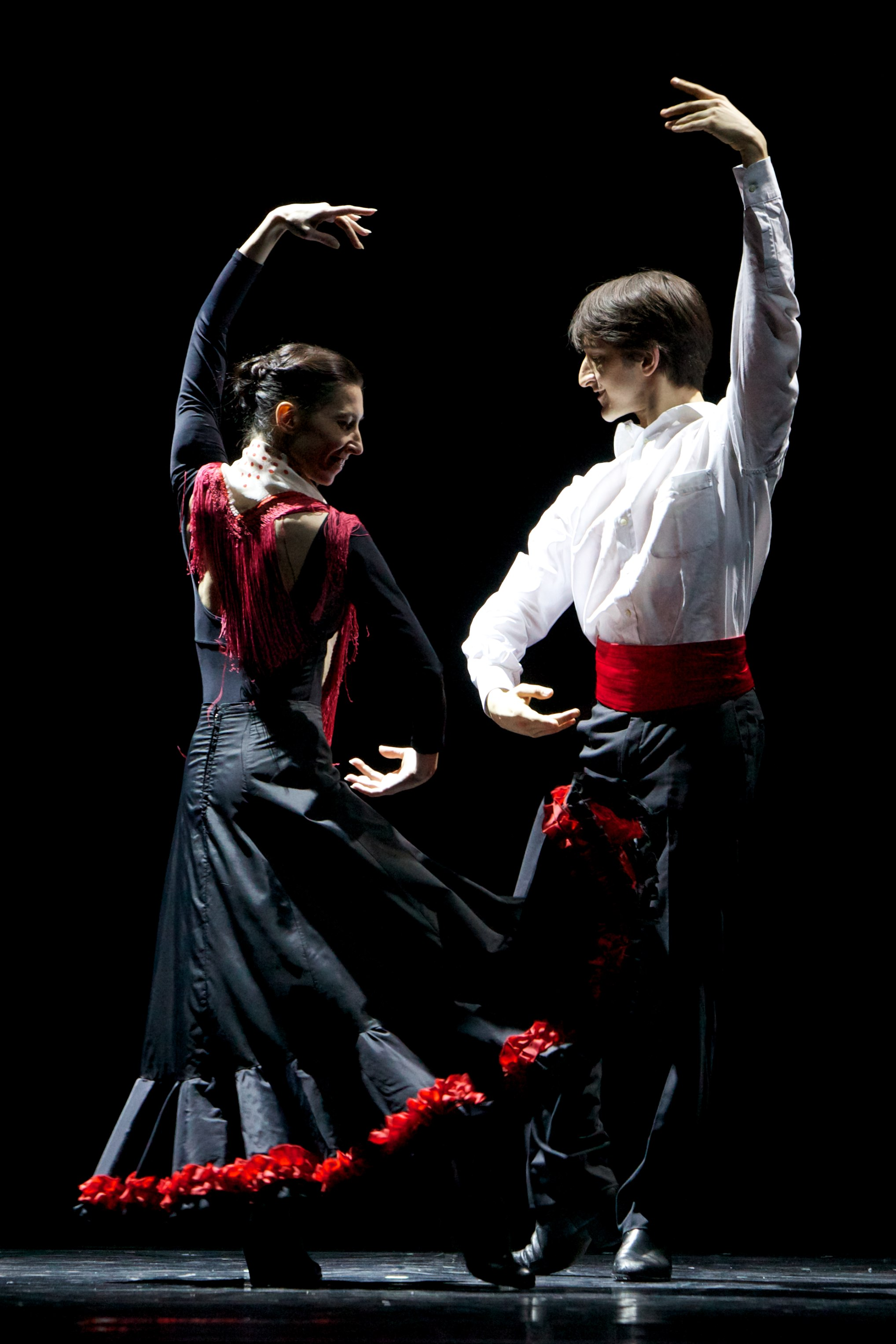 two dancers in flamenco costume
