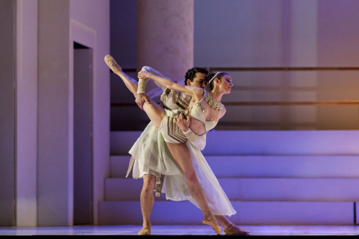 two ballet dancers in a lift