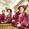 four ballet dancers on the Grand Staircase at Buckingham Palace