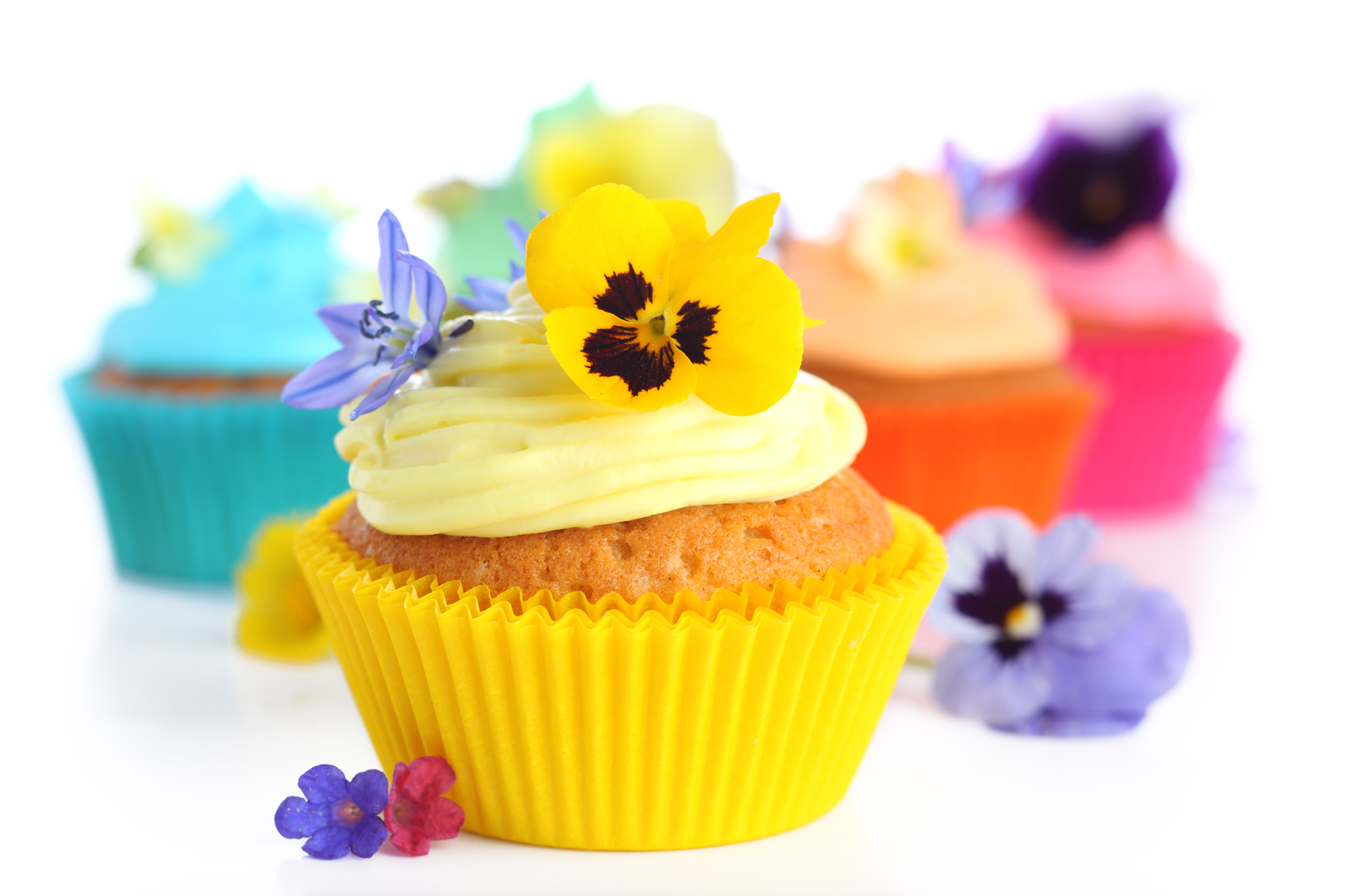 bright yellow cupcake with pansy on top