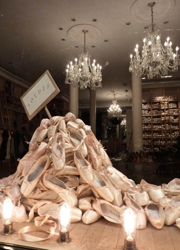 pointe shoes in a heap
