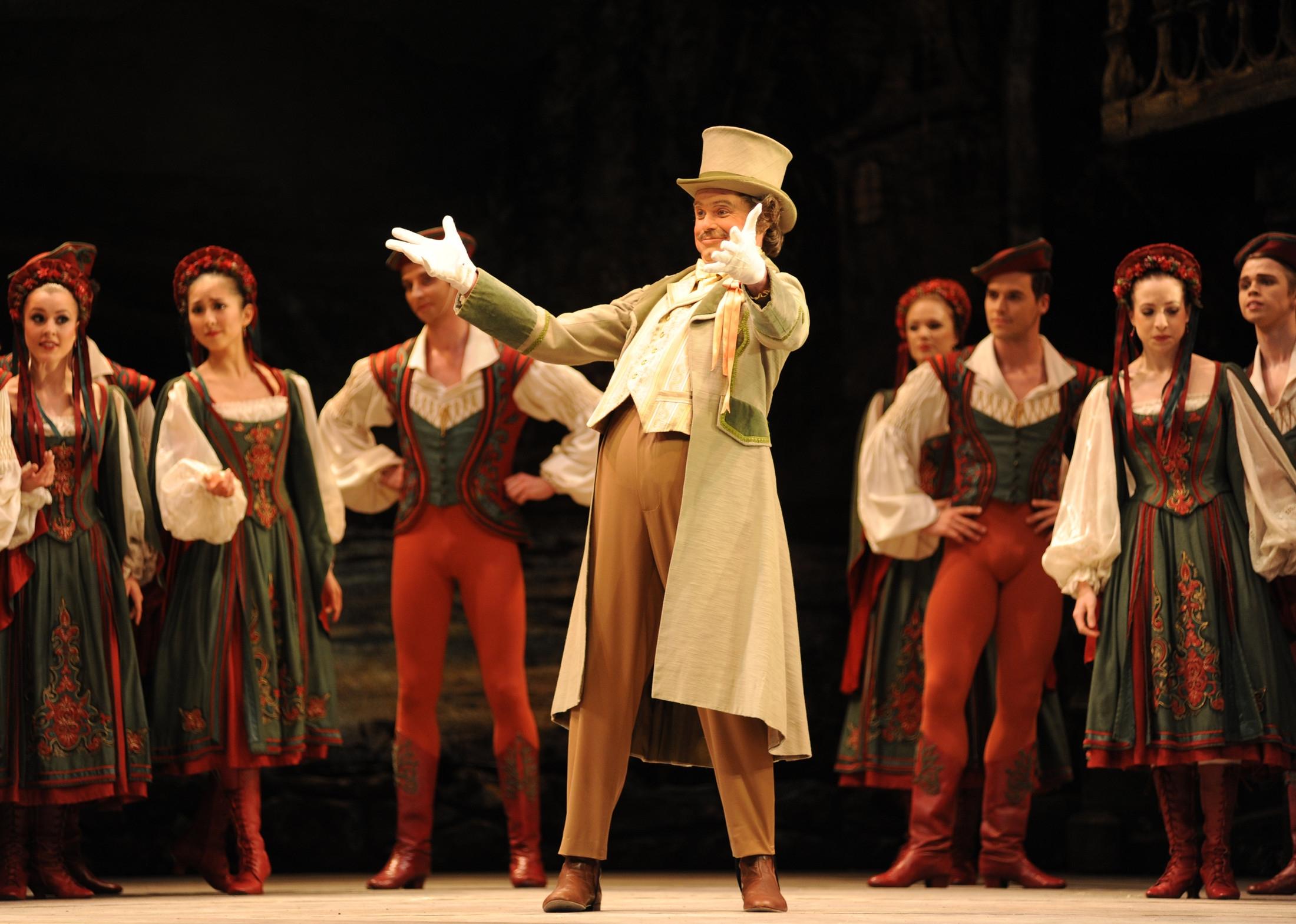 Coppélia  Jonathan Payn as the Burgomaster with Artists of Birmingham Royal Ballet  photo Roy Smiljanic