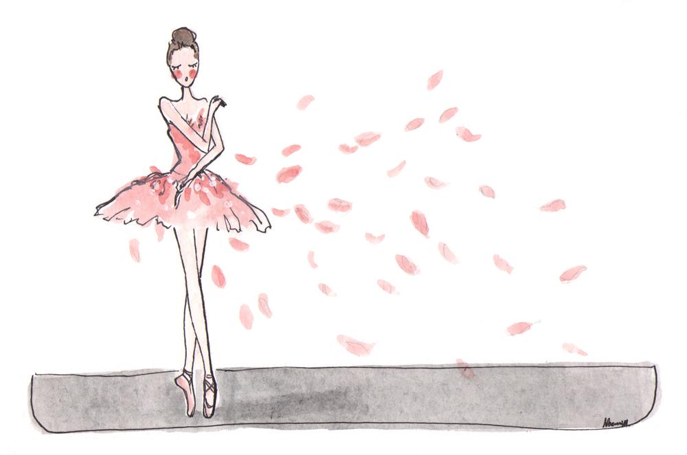 ballet dancer in pink tutu on pointe