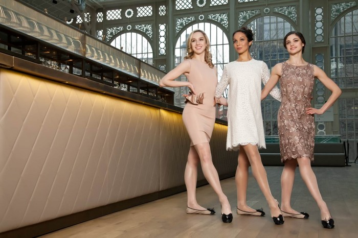 DANCING QUEENS Cocorose London Exclusive Royal Ballet Collection 'Aurora' Nude Pink and Black Grosgrain Bow Foldable Ballet Pumps. Modelled by Nathalie Harrison, Tara Bhavnani and Romany Pajdak -all First Artists with the Royal Ballet. Photographed on location at the Royal Opera House Covent Garden. Price: £50. Available from www.cocoroselondon.com. Fashions courtesy of Jexika, Phase Eight and Charnos