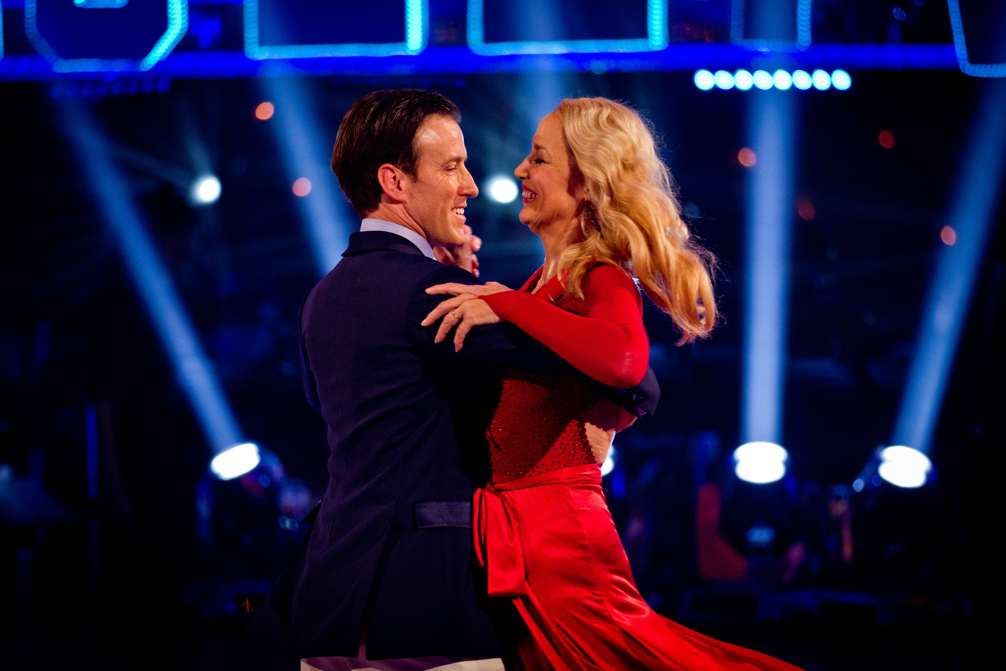 Jerry Hall and Anton Du Beke dance their farewell dance Anton Du Beke, Jerry Hall - (C) BBC - Photographer: Guy Levy