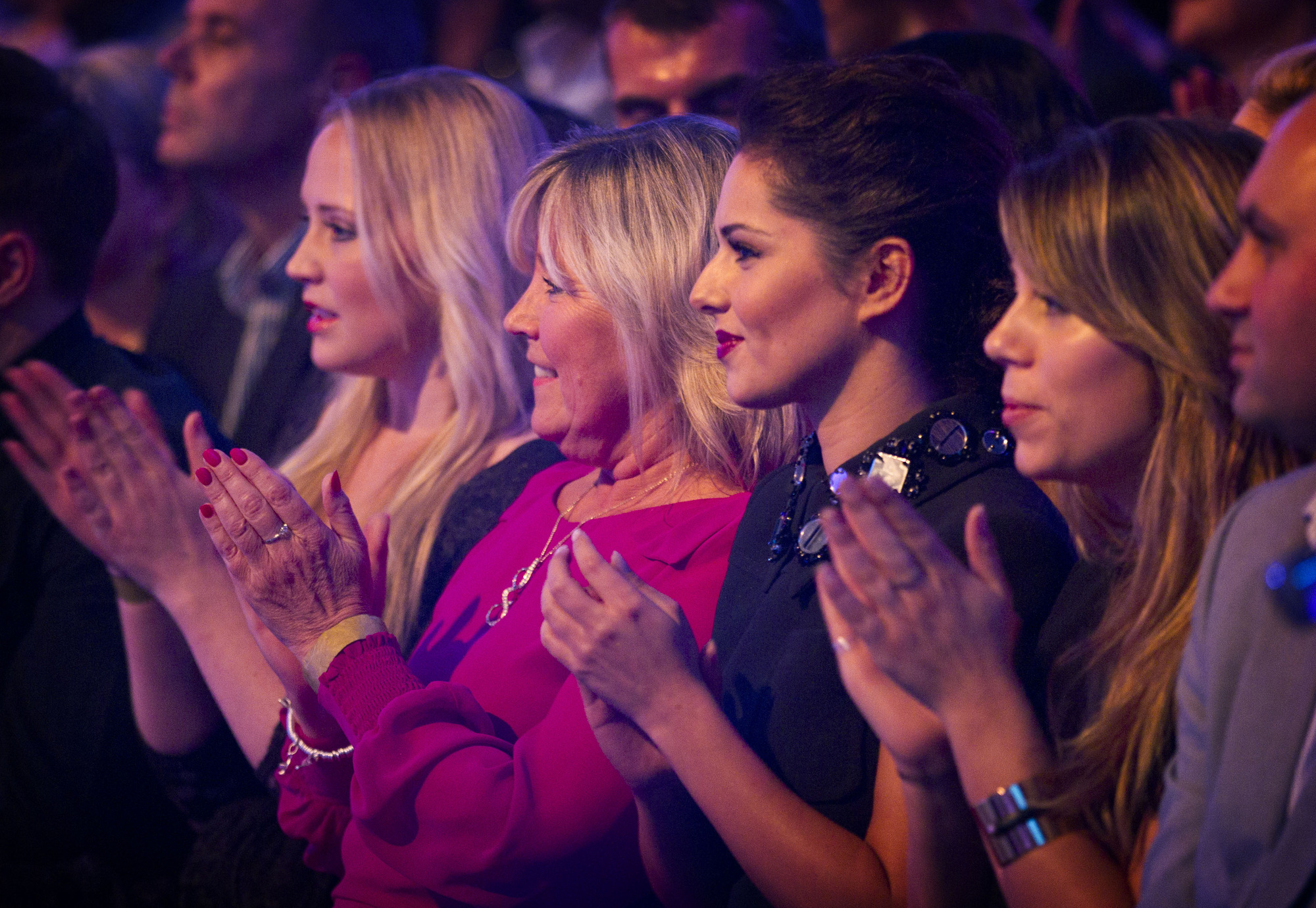 Cheryl Cole (3rd from right) in the audience of Strictly Come Dancing. Cheryl Cole - (C) BBC - Photographer: Guy Levy
