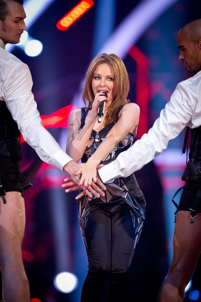 Performing her classic single, 'Locomotion', Kylie Minogue - (C) BBC - Photographer: Guy Levy