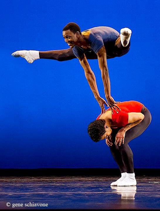 ballet dancer jumps on stage