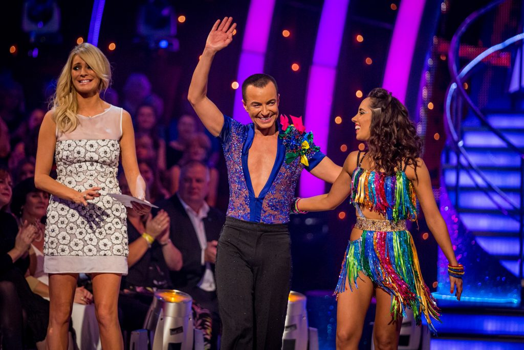 Julien and Janette leave Strictly Come Dancing. Janette Manrara, Julien Macdonald, Tess Daly - (C) BBC - Photographer: Guy Levy