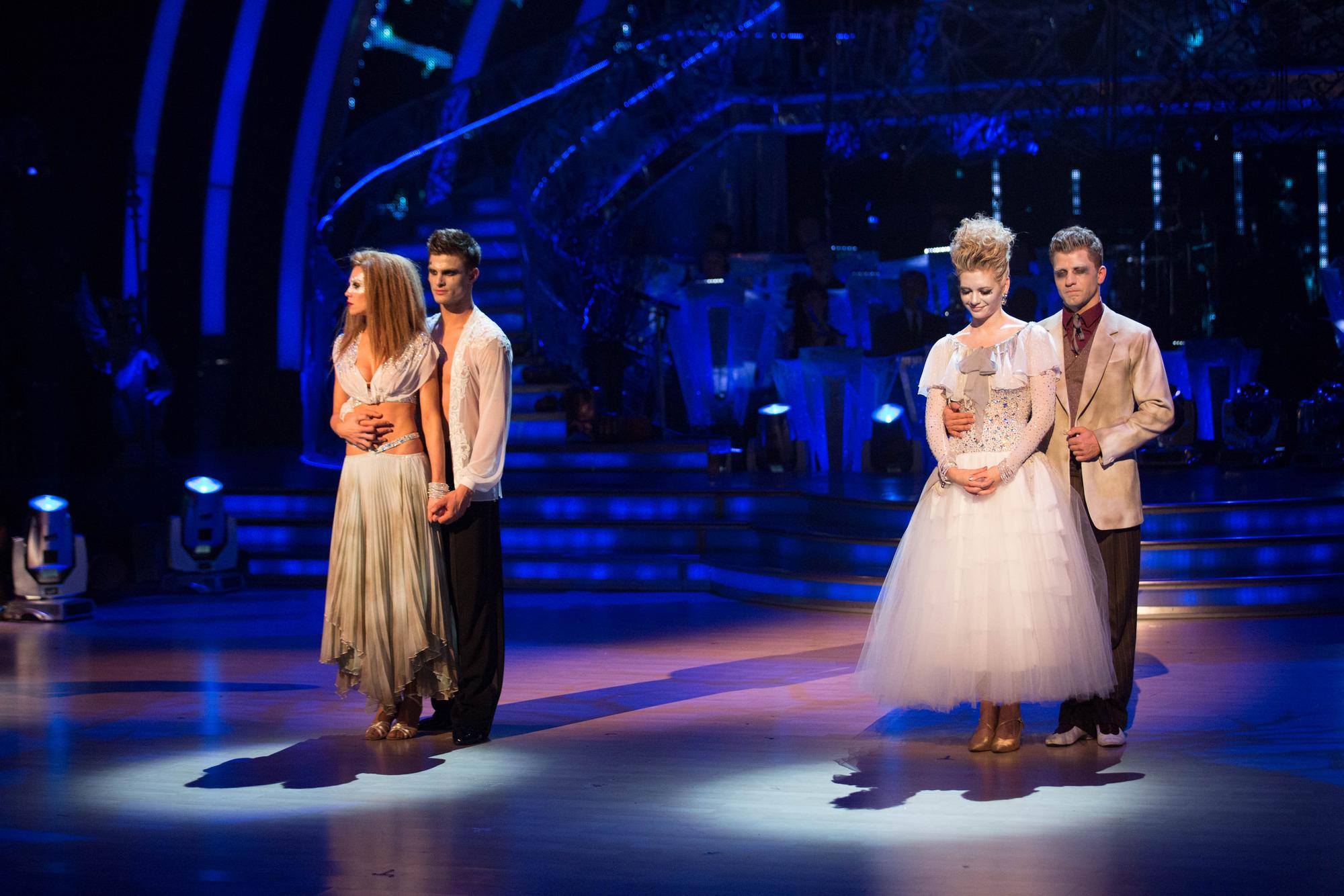 The bottom two couples Abbey Clancy, Aljaz Skorjanec, Rachel Riley, Pasha Kovalev - (C) BBC - Photographer: Guy Levy