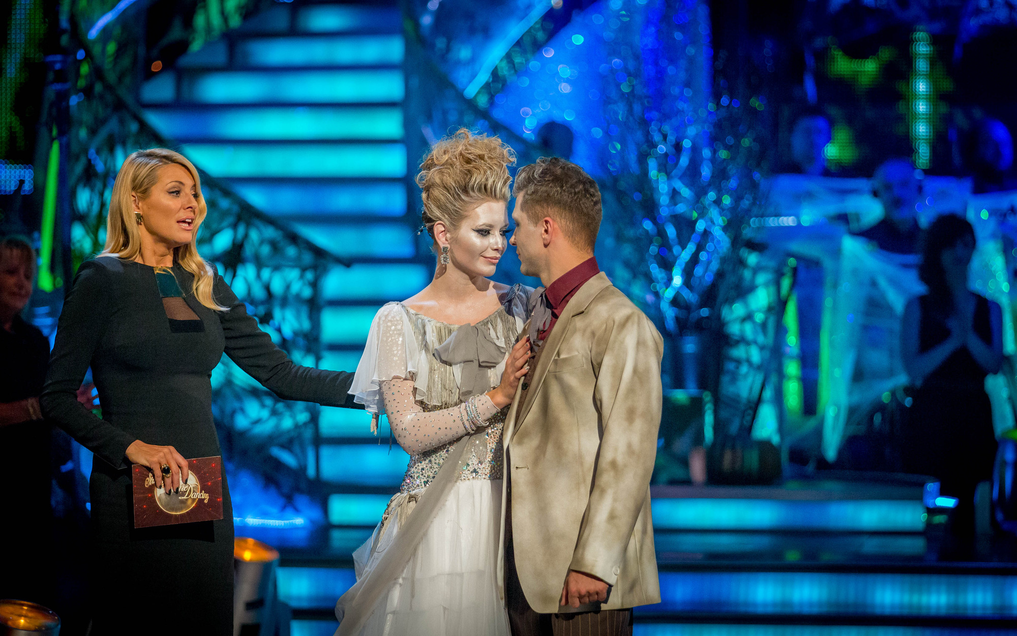 Rachel and Pasha leave the competition Tess Daly, Rachel Riley, Pasha Kovalev - (C) BBC - Photographer: Guy Levy
