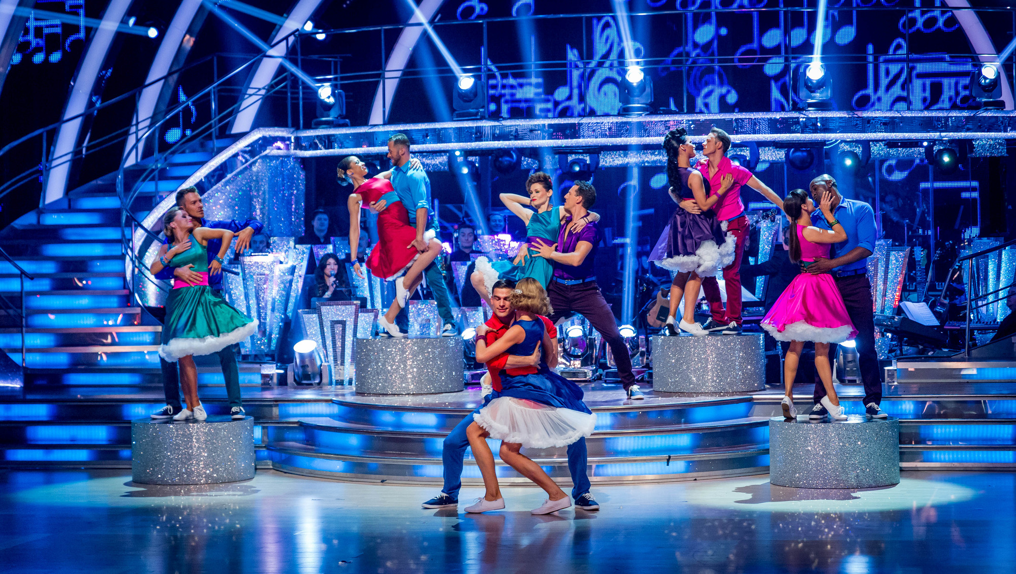 L - R The remaining 6 couples compete in the Swingathon - (C) BBC - Photographer: Guy Levy