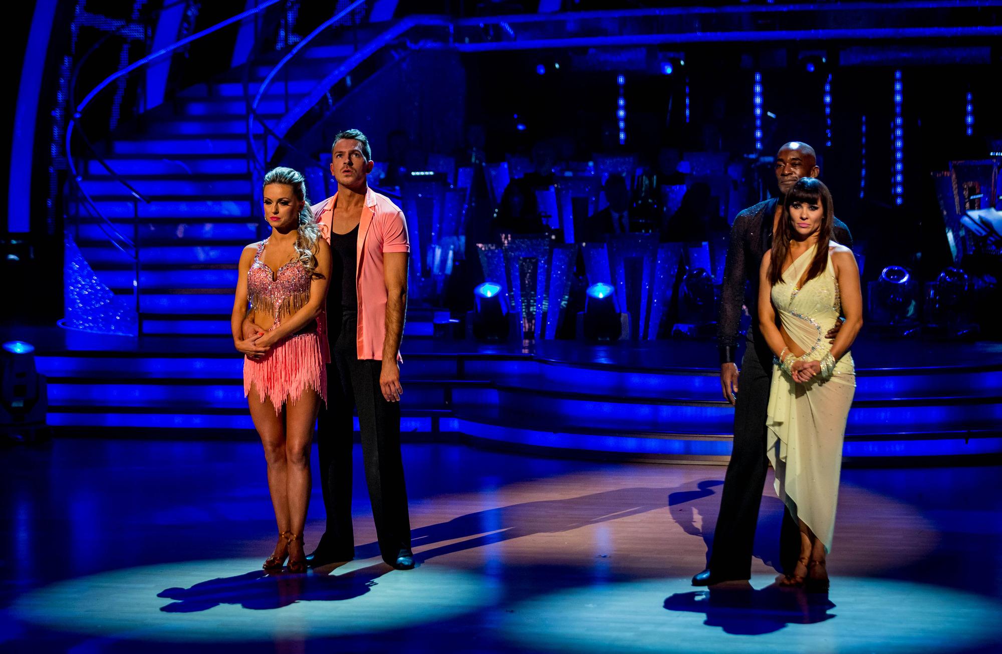 The bottom 2 couples Ola Jordan, Ashley Taylor Dawson, Patrick Robinson, Anya Garnis - (C) BBC - Photographer: Guy Levy