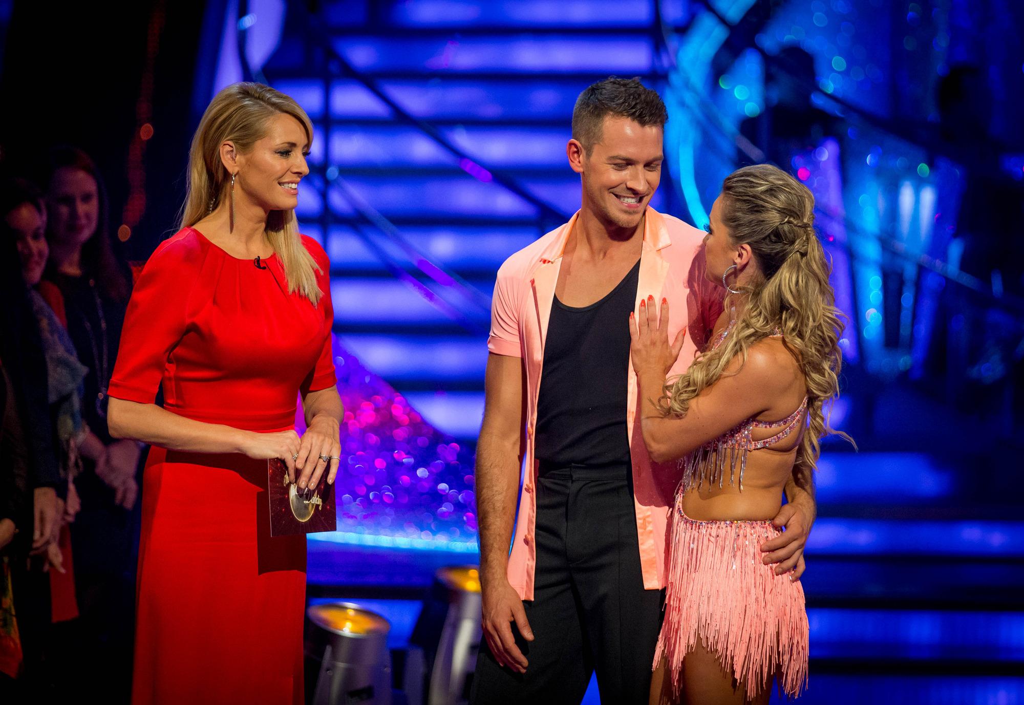 Ashley and Ola leave the competition Tess Daly, Ashley Taylor Dawson, Ola Jordan - (C) BBC - Photographer: Guy Levy