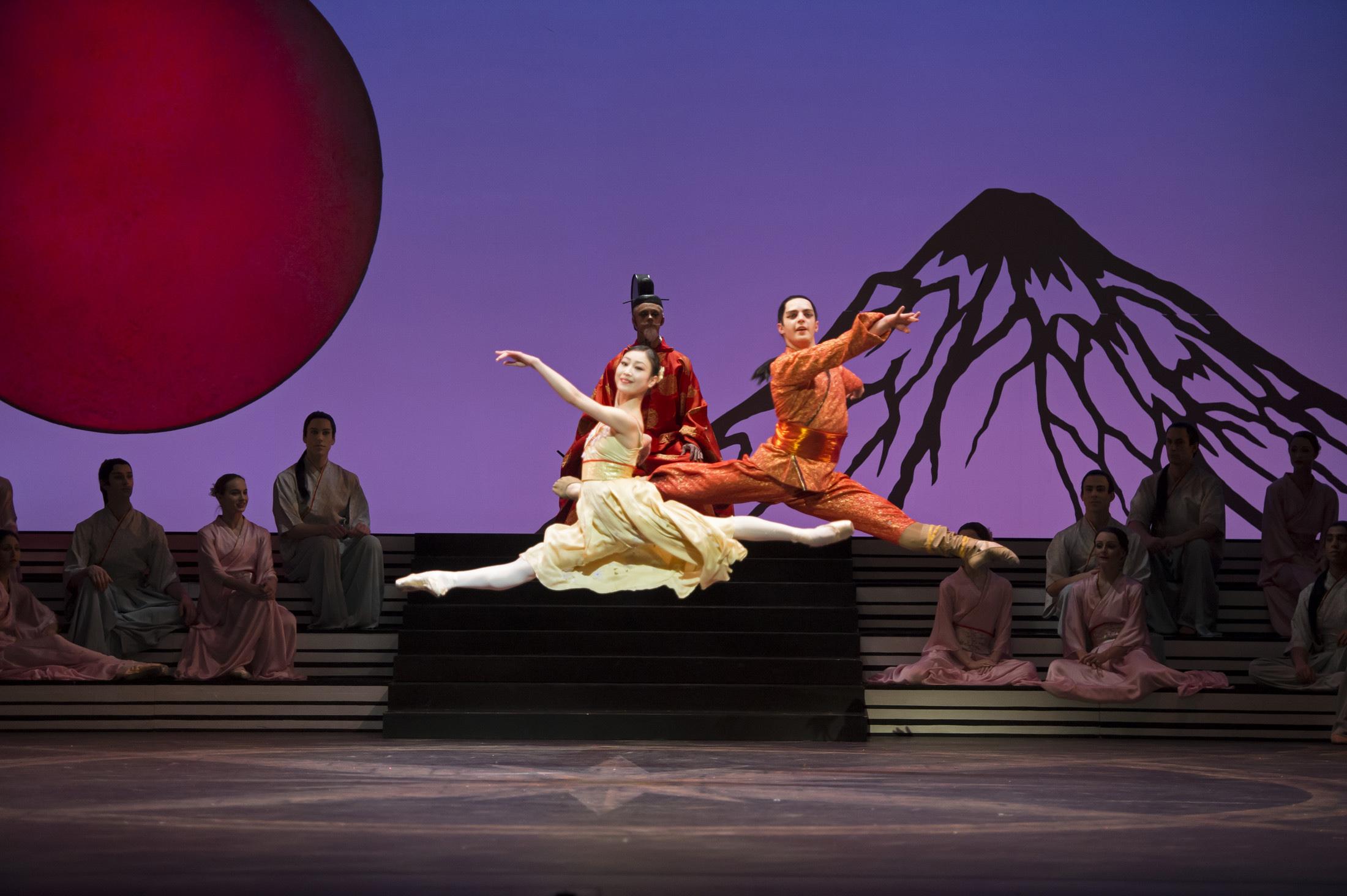 Momoko Hirata as Princess Belle Sakura and Joseph Caley as The Prince with Artist of Birmingham Royal Ballet; photo: Bill Cooper