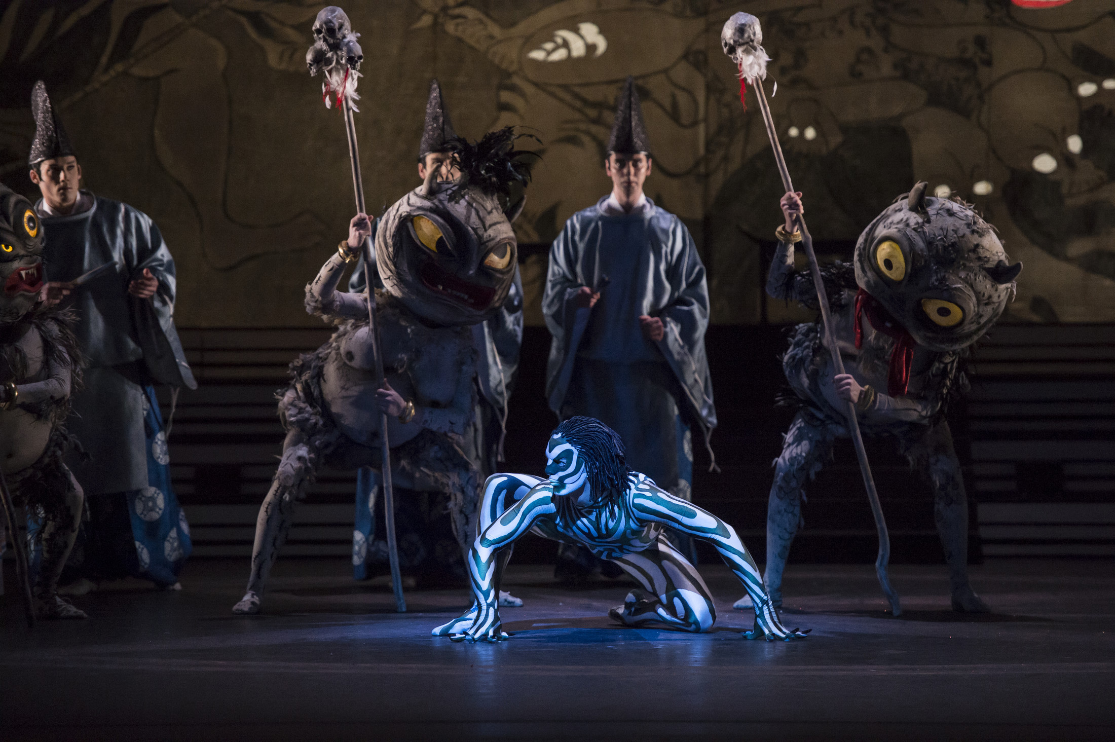 Joseph Caley as The Salamander Prince with Artists of Birmingham Royal Ballet; photo: Bill Cooper