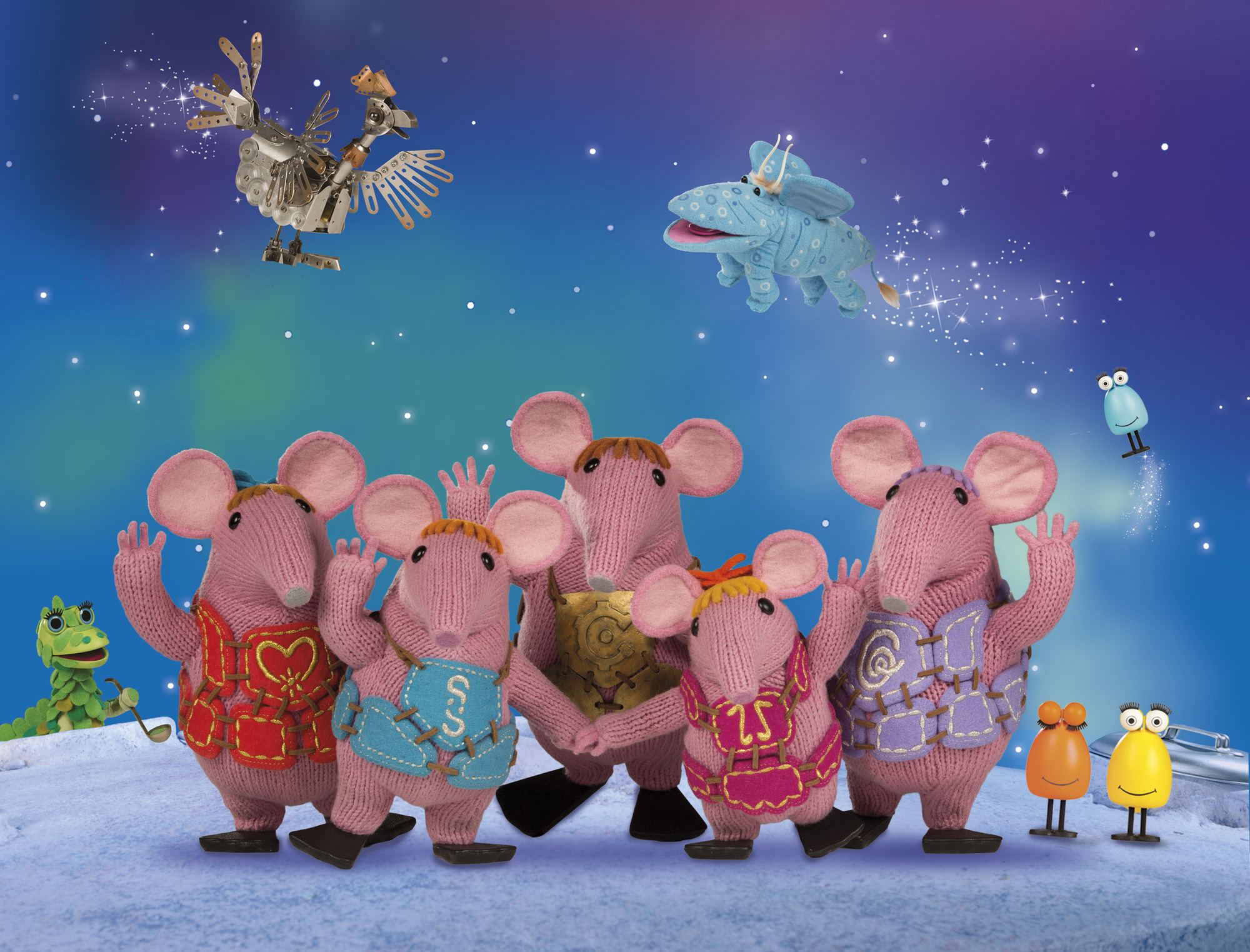 (clockwise from left) Soup Dragon, Iron Chicken, Sky Moo, Froglets, Granny, Tiny, Major, Small, Mother - (C) Coolabi, Smallfilms and Peter Firmin - Photographer: Animation still