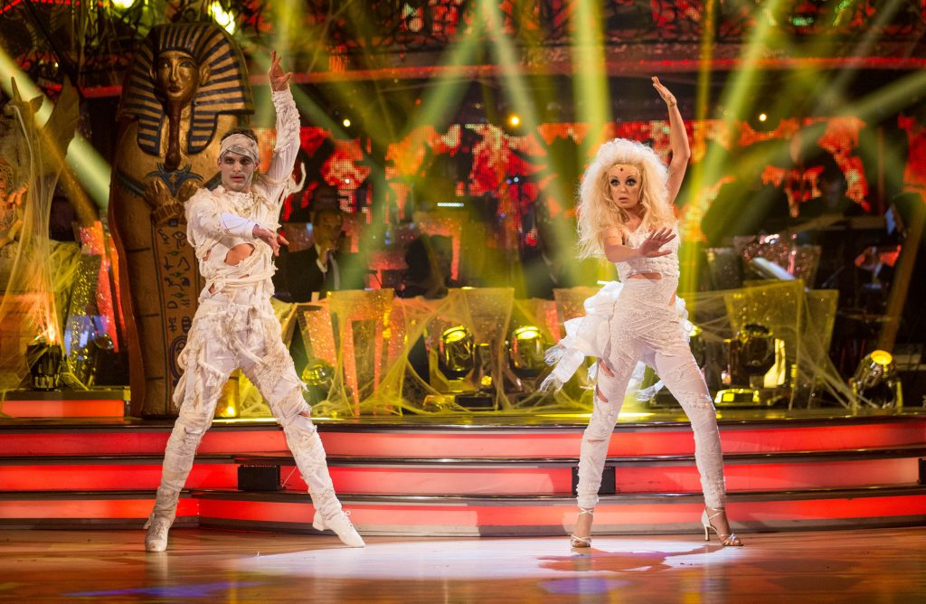 Programme Name: Strictly Come Dancing 2015 - TX: 31/10/2015 - Episode: n/a (No. n/a) - Picture Shows: **LIVE SHOW** Aljaz Skorjanec, Helen George - (C) BBC - Photographer: Guy Levy