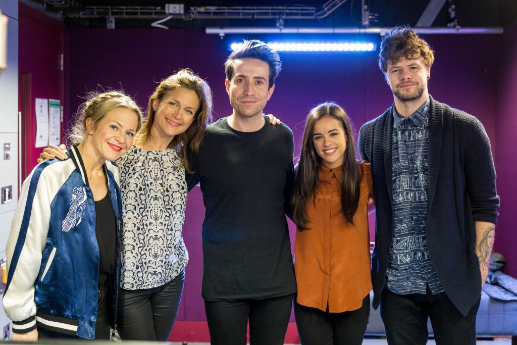 The Strictly finalists visit Radio 1 Kellie Bright, Katie Derham, Nick Grimshaw, Georgia May Foote, Jay McGuiness - (C) BBC - Photographer: Guy Levy