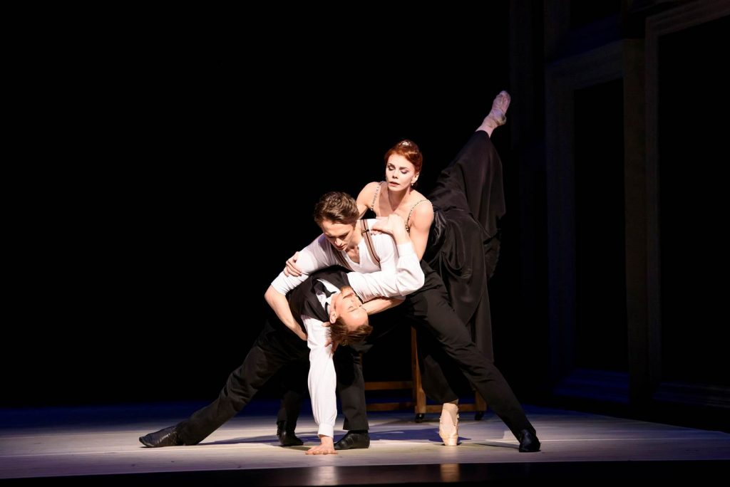 Strapless. Edward Watson, Matthew Ball and Natalia Osipova -®ROH, 2015. Photographed by Bill Cooper.