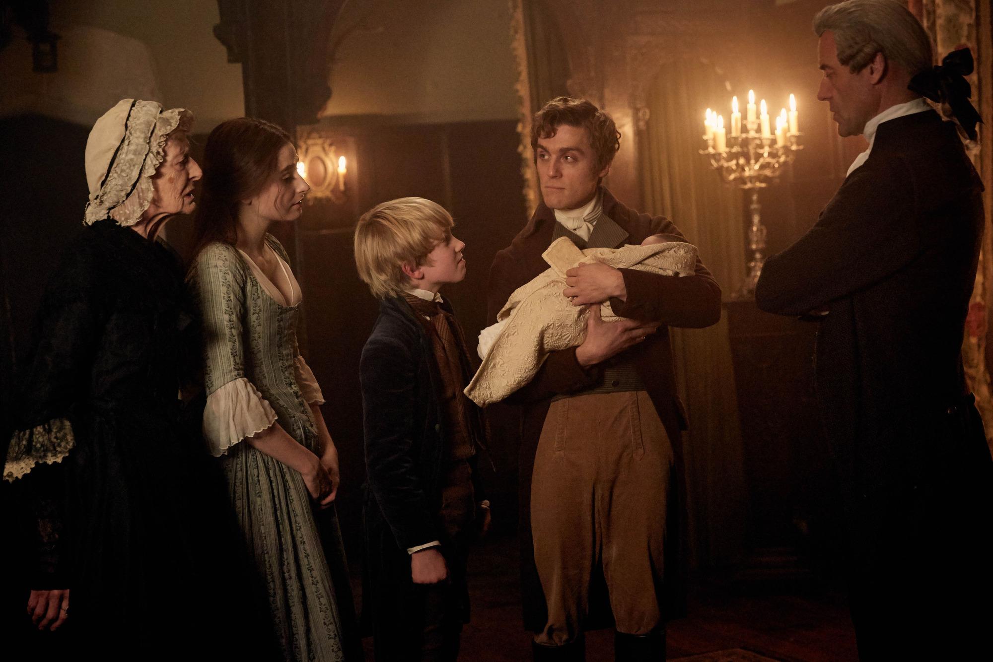 Aunt Agatha (CAROLINE BLAKISTON), Morwenna Chynoweth (ELLISE CHAPPELL), George Warleggan (JACK FARTHING) - (C) Mammoth Screen - Photographer: Robert Viglasky