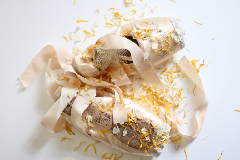 pointe shoes and confetti