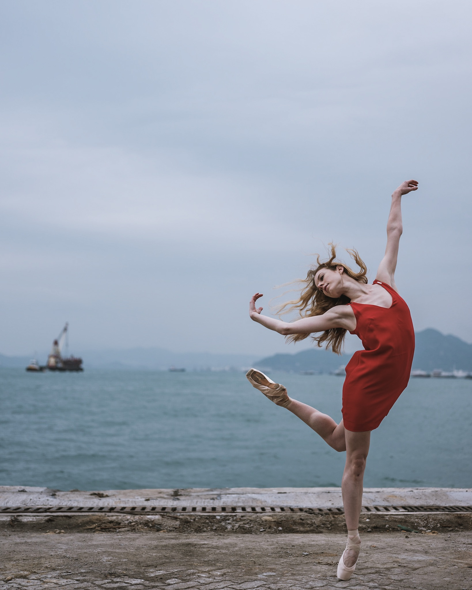 ballet dancer on the beach